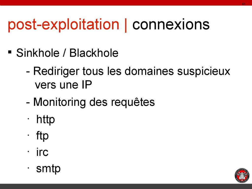 post-exploitation | connexions § Sinkhole / Bla...