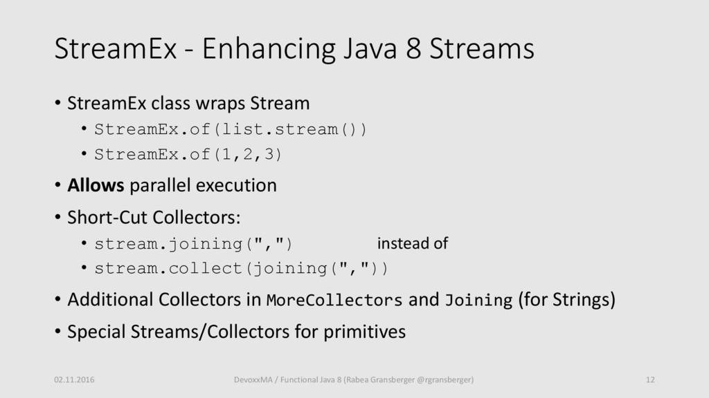 StreamEx - Enhancing Java 8 Streams • StreamEx ...