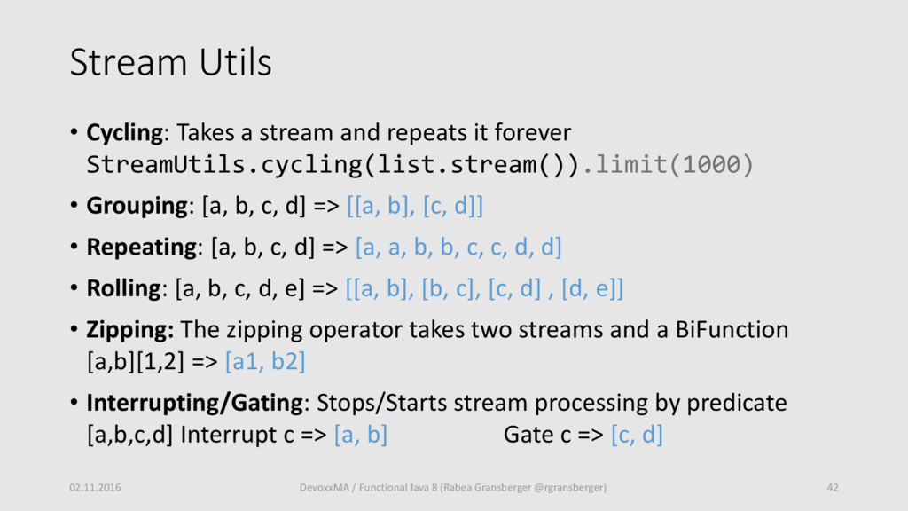 Stream Utils • Cycling: Takes a stream and repe...
