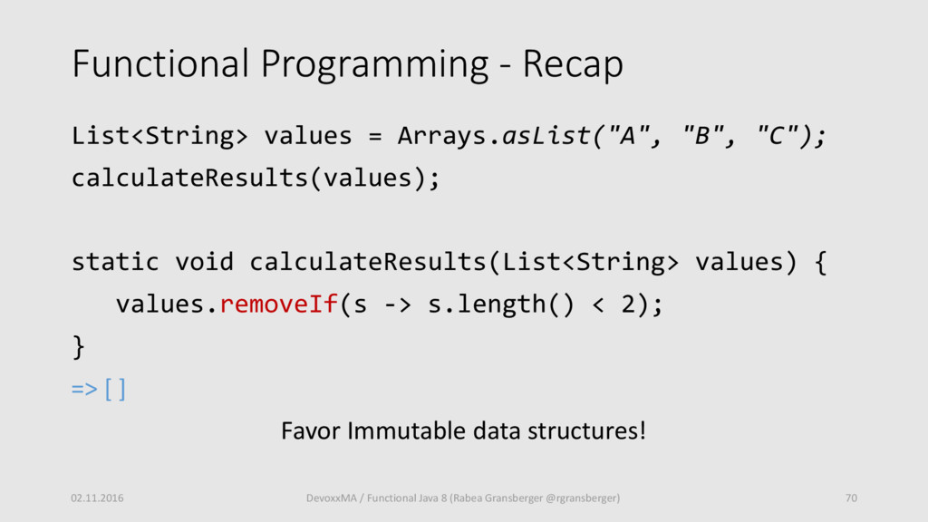 Functional Programming - Recap List<String> val...
