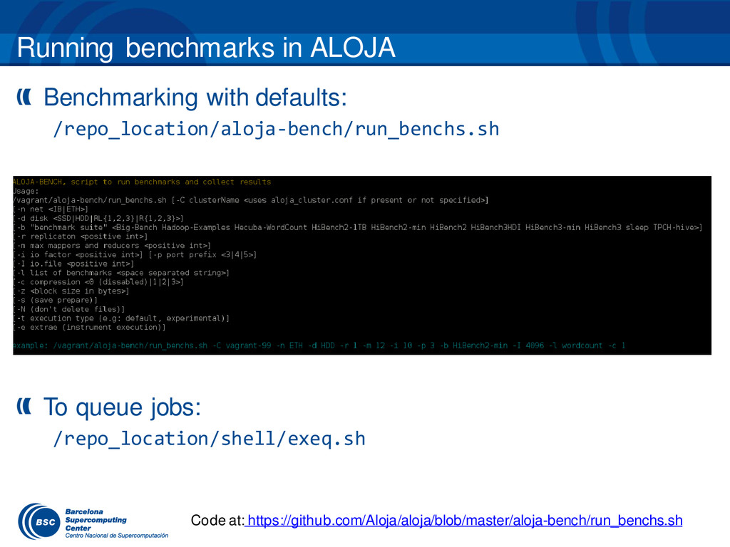Running benchmarks in ALOJA Benchmarking with d...