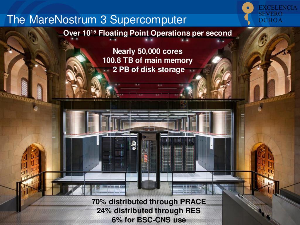 The MareNostrum 3 Supercomputer 70% distributed...