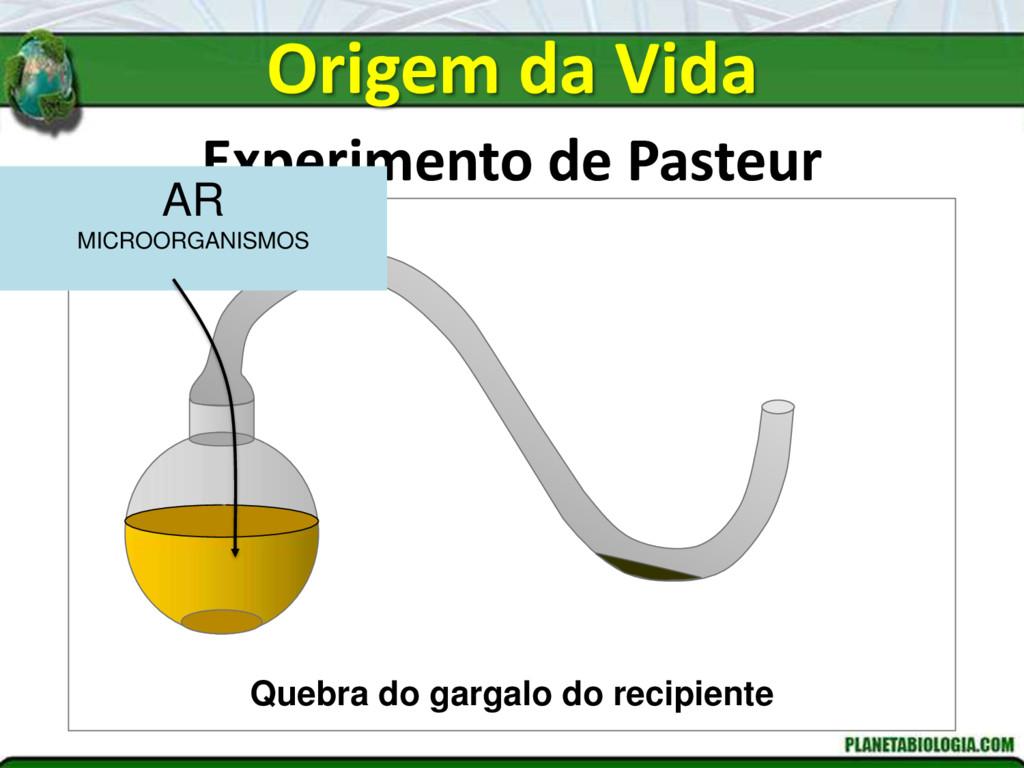 Experimento de Pasteur Quebra do gargalo do rec...