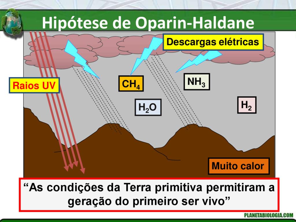 Hipótese de Oparin-Haldane NH3 H2 H2 O CH4 Desc...