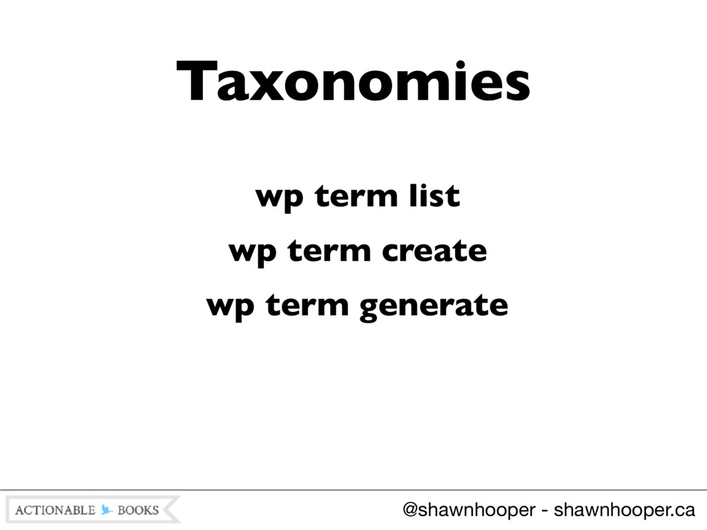 wp term list wp term create wp term generate Ta...