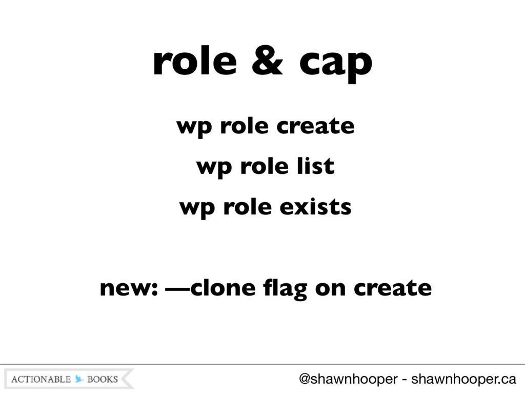 wp role create wp role list wp role exists new:...