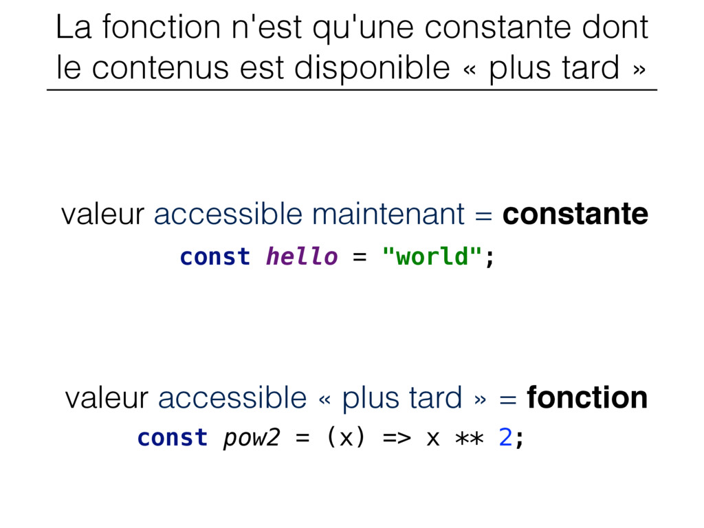 valeur accessible « plus tard » = fonction La f...