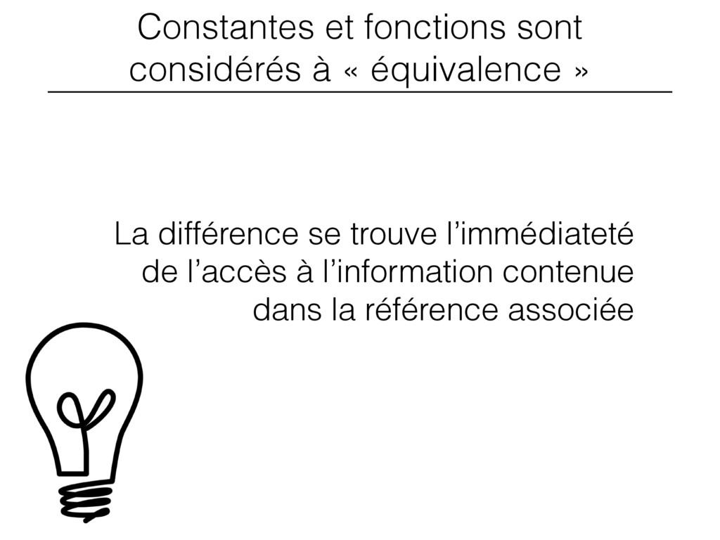 Constantes et fonctions sont considérés à « équ...