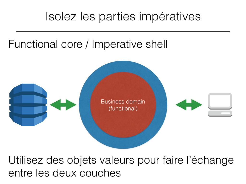 Isolez les parties impératives Functional core ...