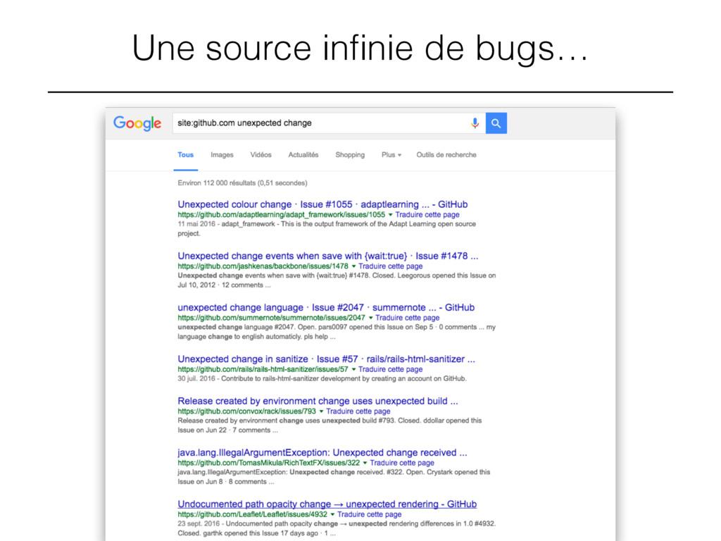 Une source infinie de bugs…