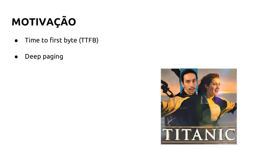 MOTIVAÇÃO ● Time to first byte (TTFB) ● Deep pa...