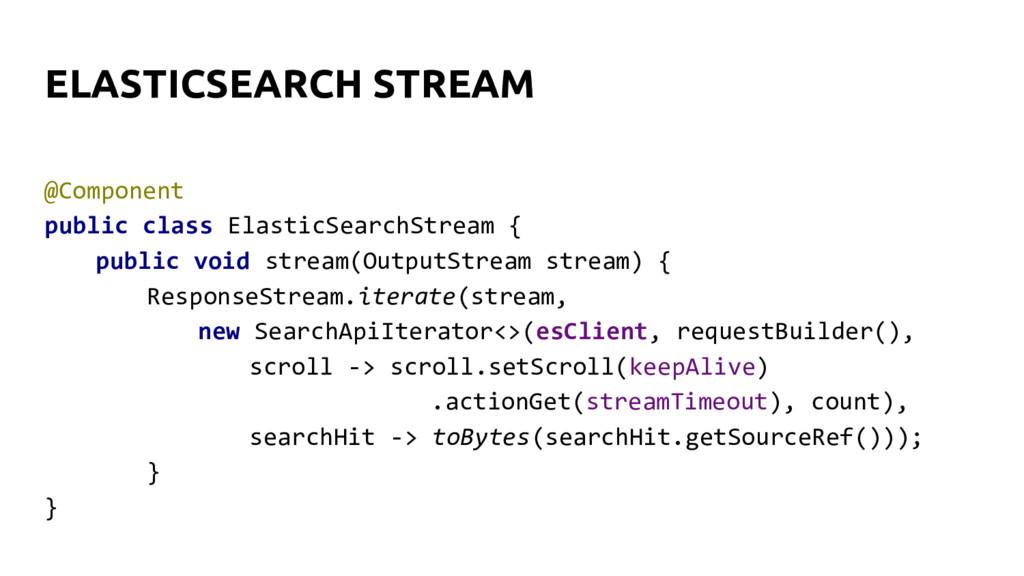 @Component public class ElasticSearchStream { p...