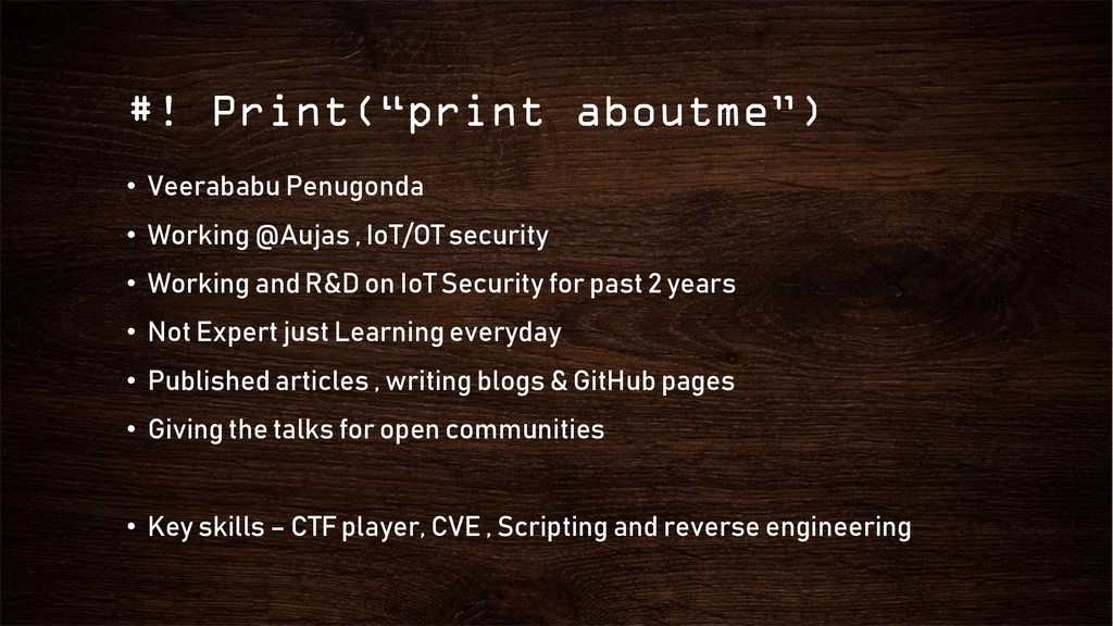 "#! Print(""print aboutme"") • Veerababu Penugonda..."