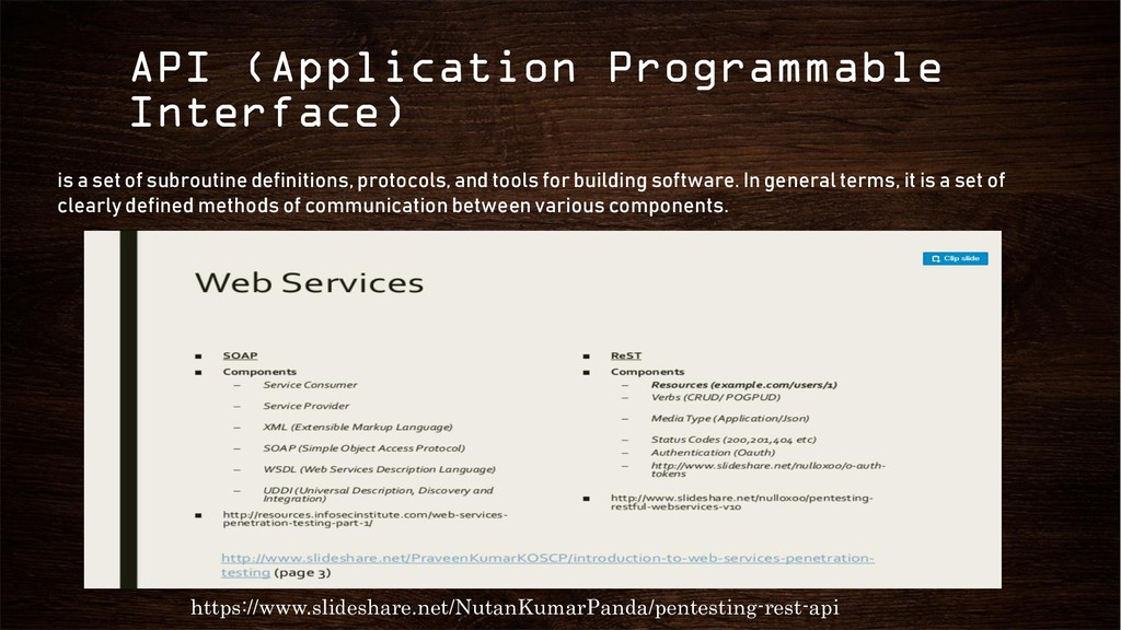 API (Application Programmable Interface) https:...