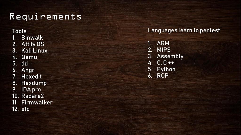 Requirements Tools 1. Binwalk 2. Attify OS 3. K...