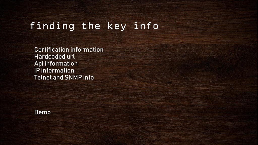 finding the key info Certification information ...