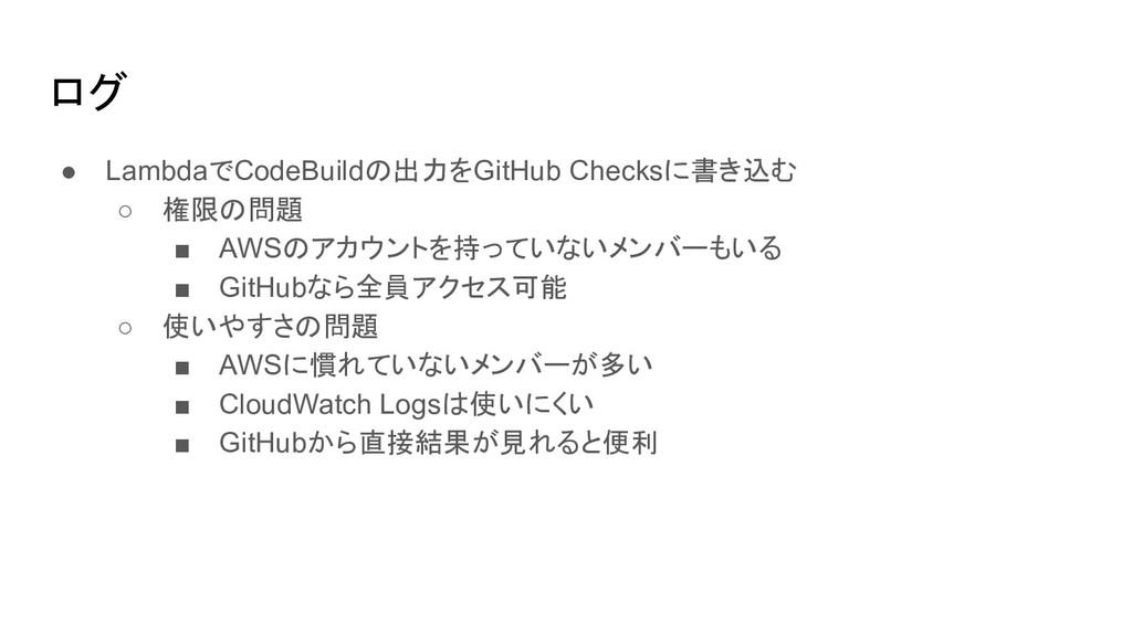 ログ ● LambdaでCodeBuildの出力をGitHub Checksに書き込む ○ 権...