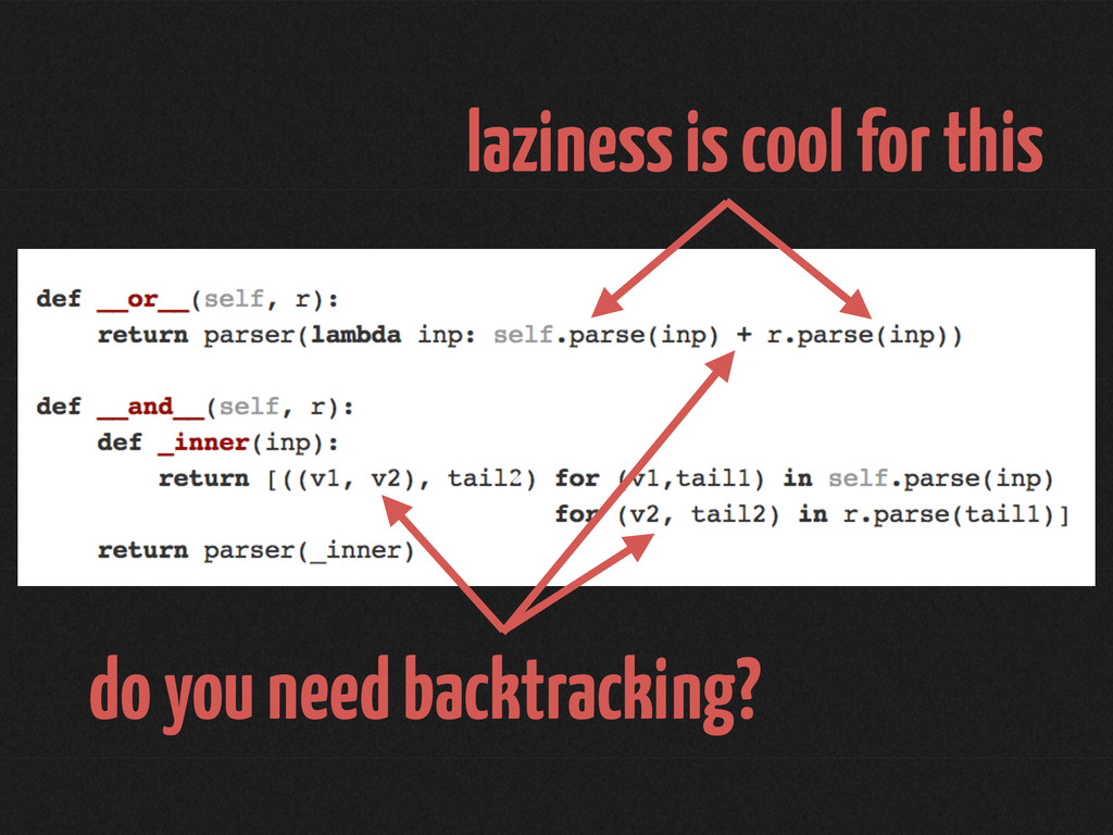 laziness is cool for this do you need backtrack...