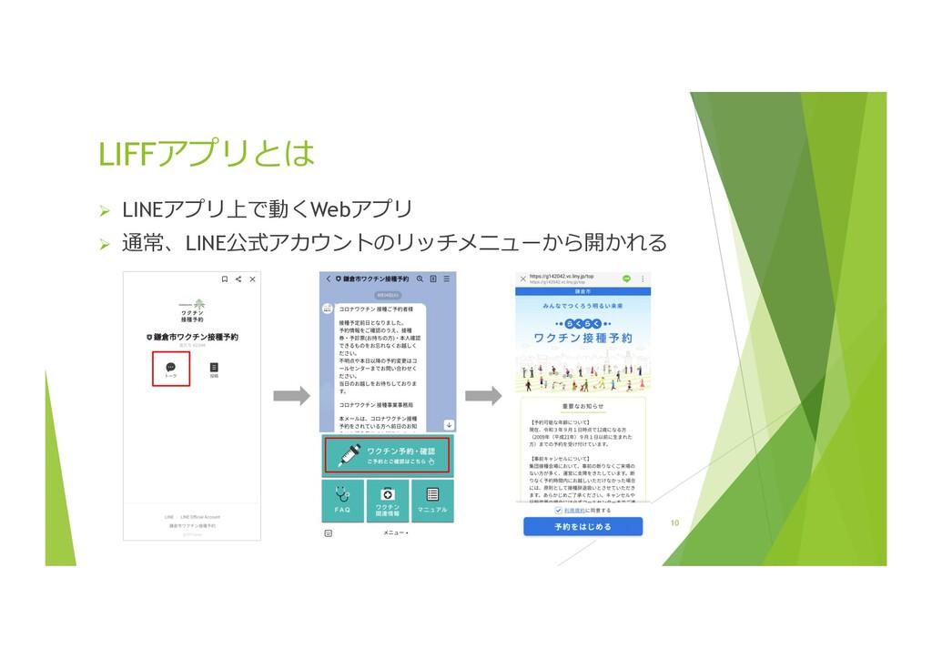 Ø LINEアプリ上で動くWebアプリ Ø 通常、LINE公式アカウントのリッチメニューから開...