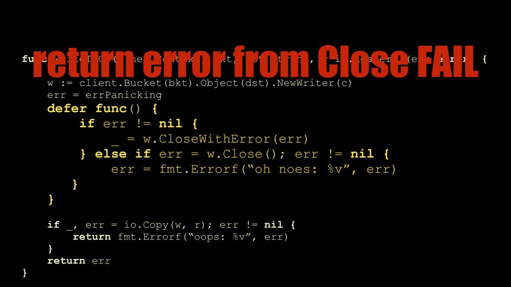 func writeToGS(c net.Context, bkt, dst string, ...