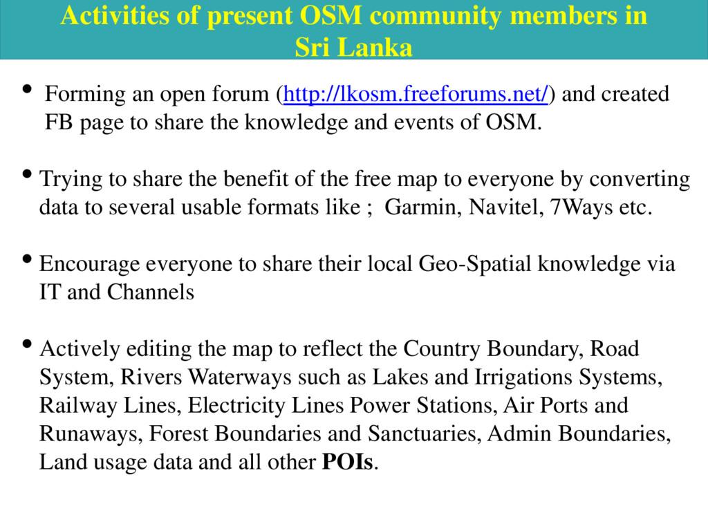 Activities of present OSM community members in ...