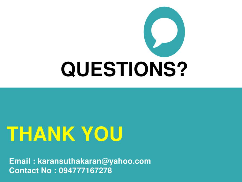 QUESTIONS? THANK YOU Email : karansuthakaran@ya...