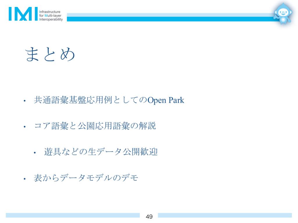 まとめ • 共通語彙基盤応用例としてのOpen Park • コア語彙と公園応用語彙の解説 •...