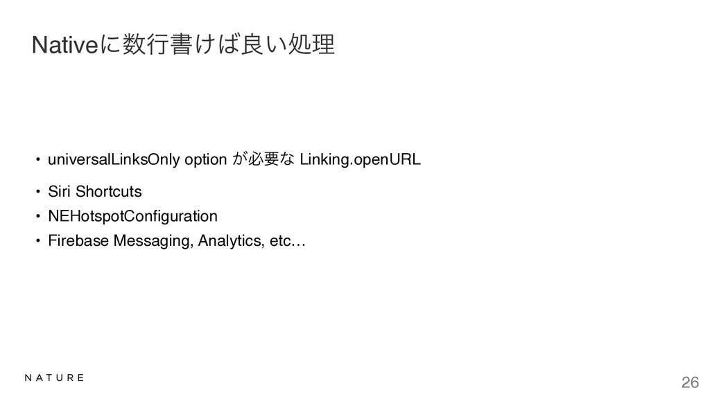 Nativeʹߦॻ͚ྑ͍ॲཧ • universalLinksOnly option ͕ඞ...
