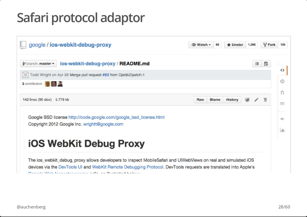 Safari protocol adaptor @auchenberg 28/60