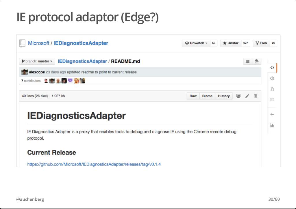 IE protocol adaptor (Edge?) @auchenberg 30/60