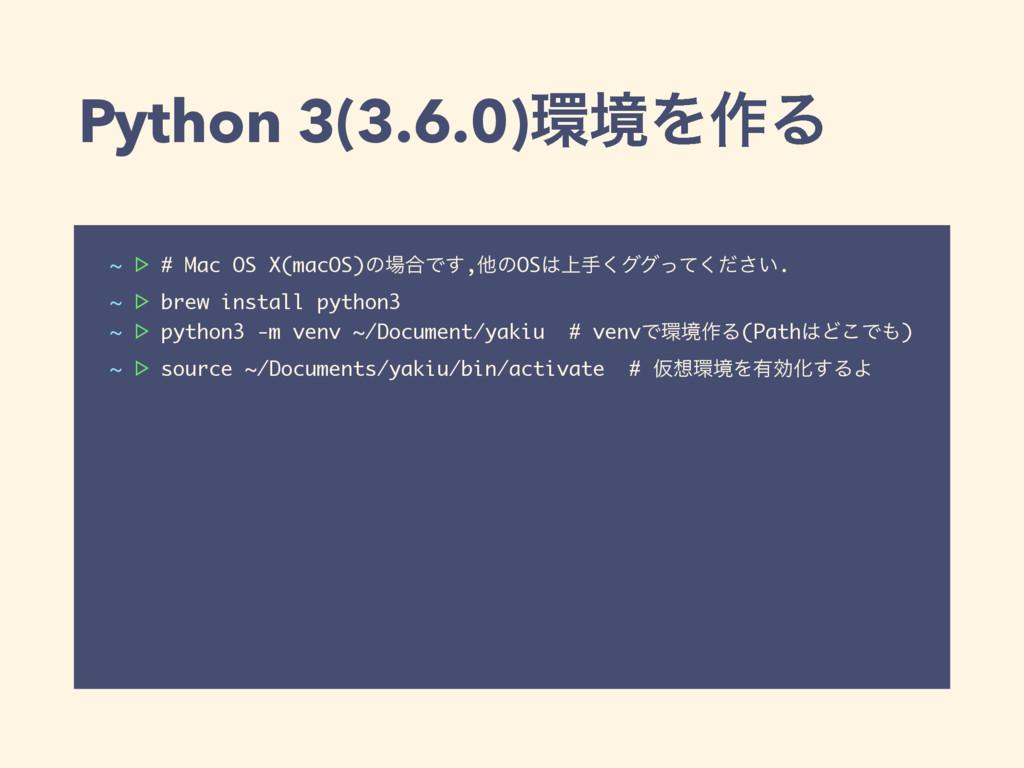 Python 3(3.6.0)ڥΛ࡞Δ ~ ᐅ # Mac OS X(macOS)ͷ߹Ͱ͢...
