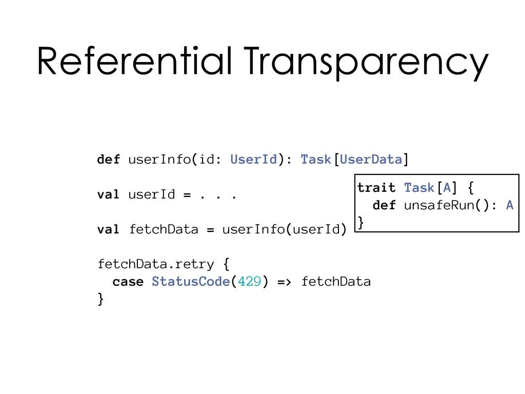 trait Task[A] { def unsafeRun(): A } def userIn...