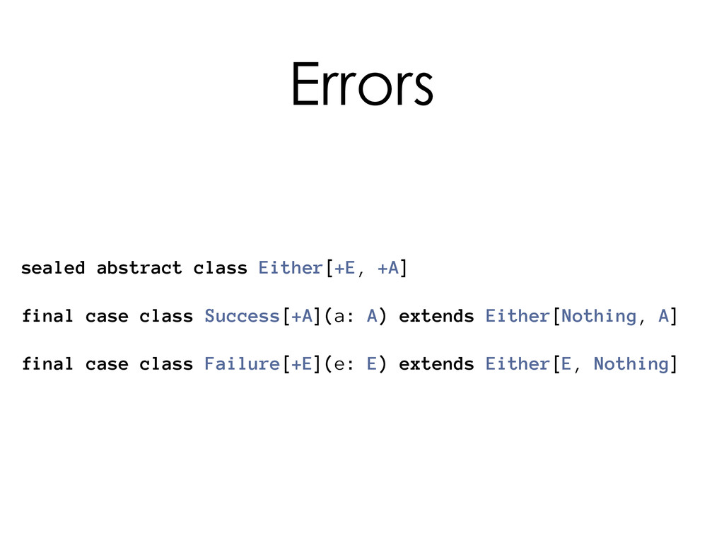 Errors sealed abstract class Either[+E, +A] fin...