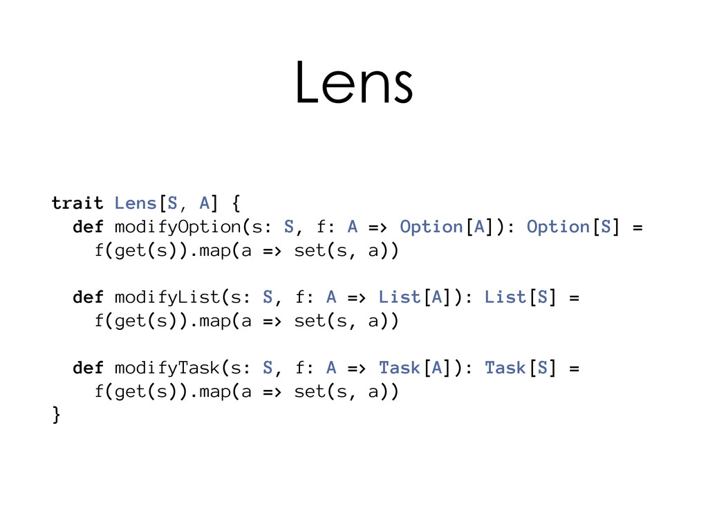 trait Lens[S, A] { def modifyOption(s: S, f: A ...