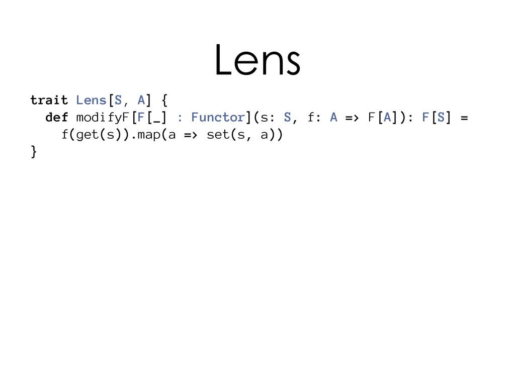 trait Lens[S, A] { def modifyF[F[_] : Functor](...