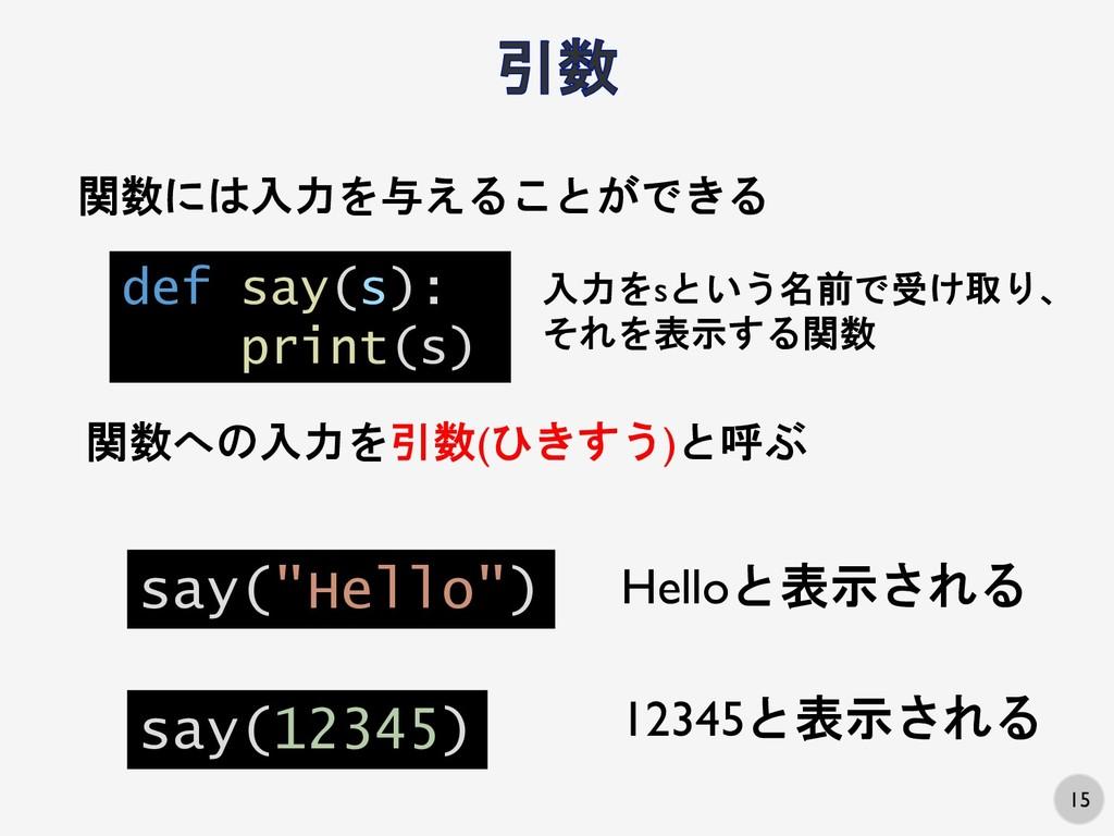15 関数には入力を与えることができる def say(s): print(s) 入力をsとい...