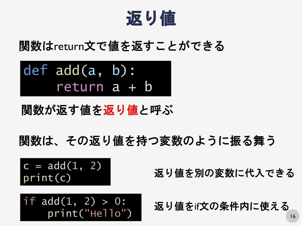 16 関数はreturn文で値を返すことができる def add(a, b): return ...