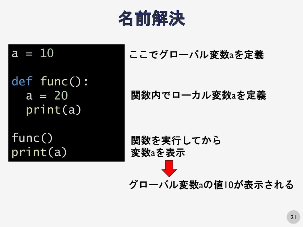 21 a = 10 def func(): a = 20 print(a) func() pr...