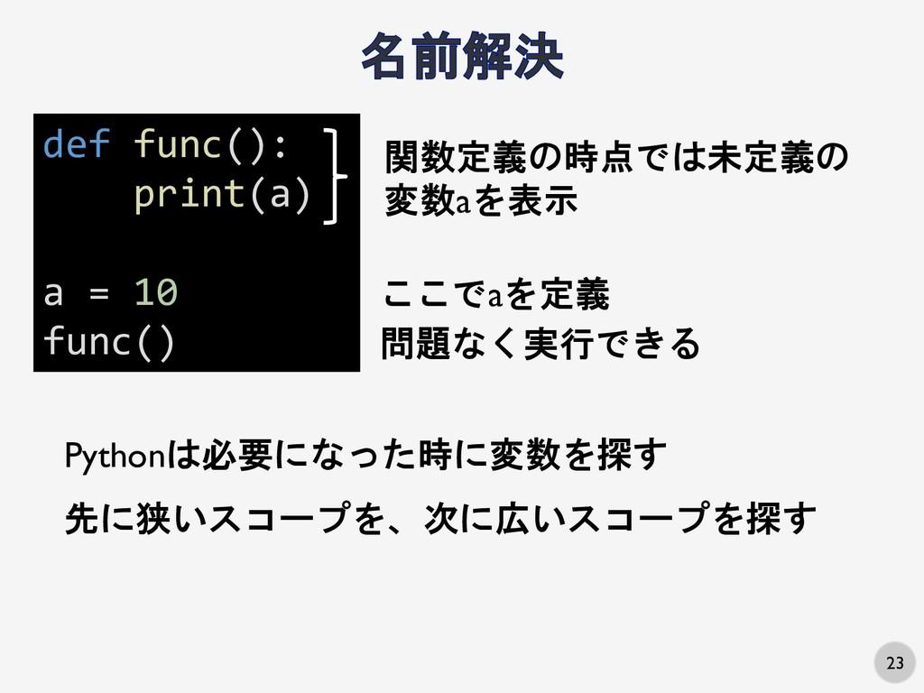 23 先に狭いスコープを、次に広いスコープを探す def func(): print(a) a...