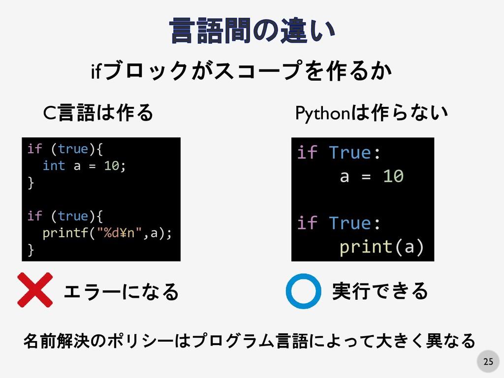 """25 if (true){ int a = 10; } if (true){ printf(""""..."""