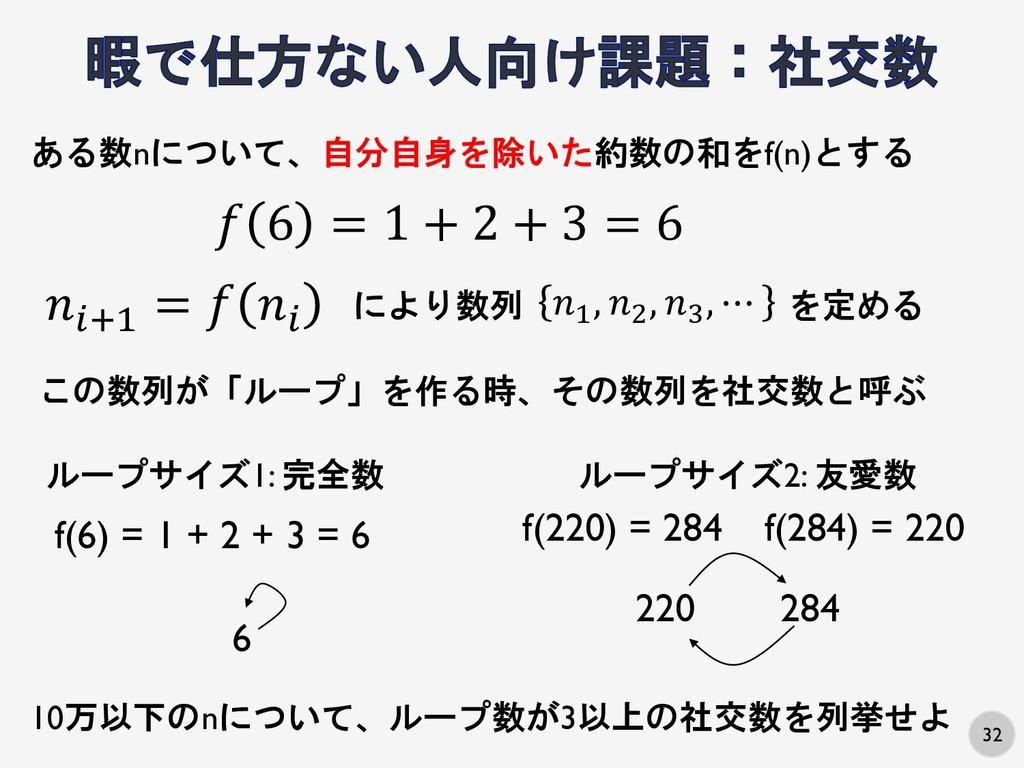 32 ある数nについて、自分自身を除いた約数の和をf(n)とする f(6) = 1 + 2 +...