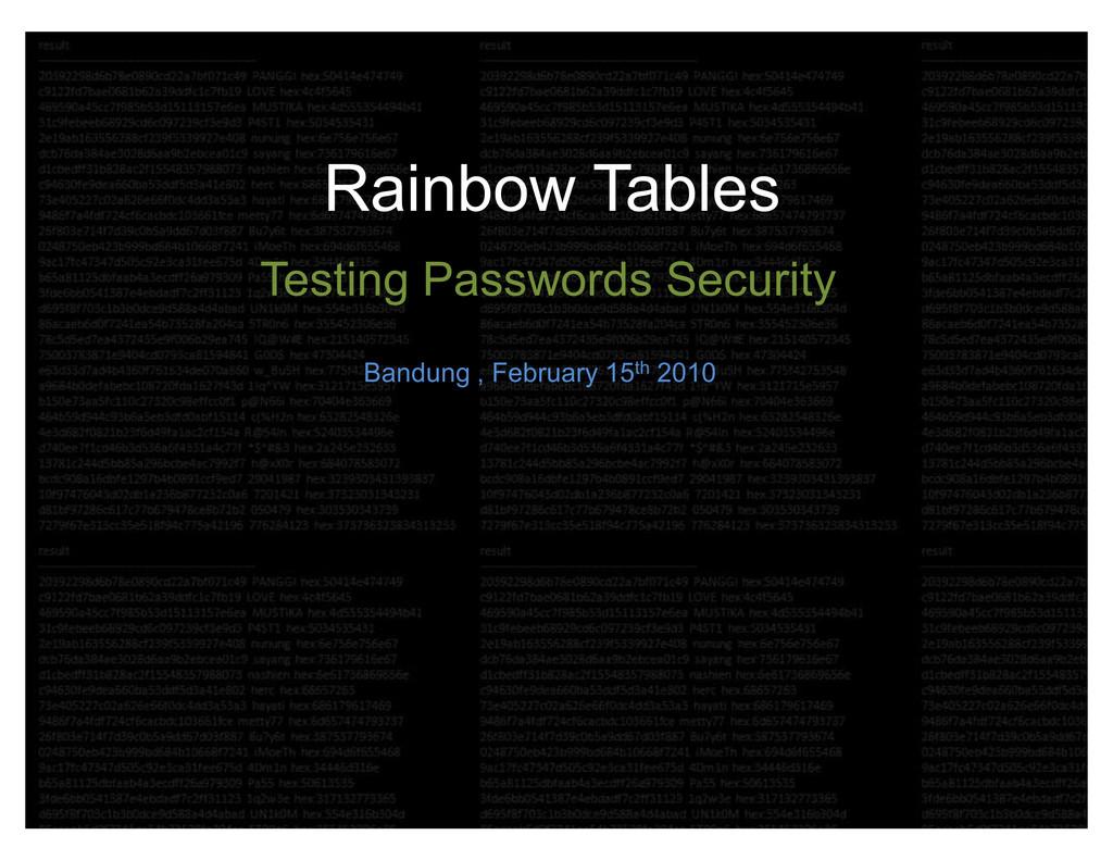 Rainbow Tables Testing Passwords Security Bandu...