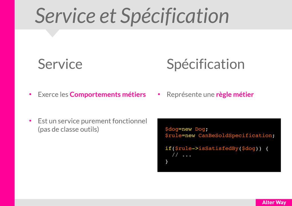 Service et Spécification Service ● Exerce les C...