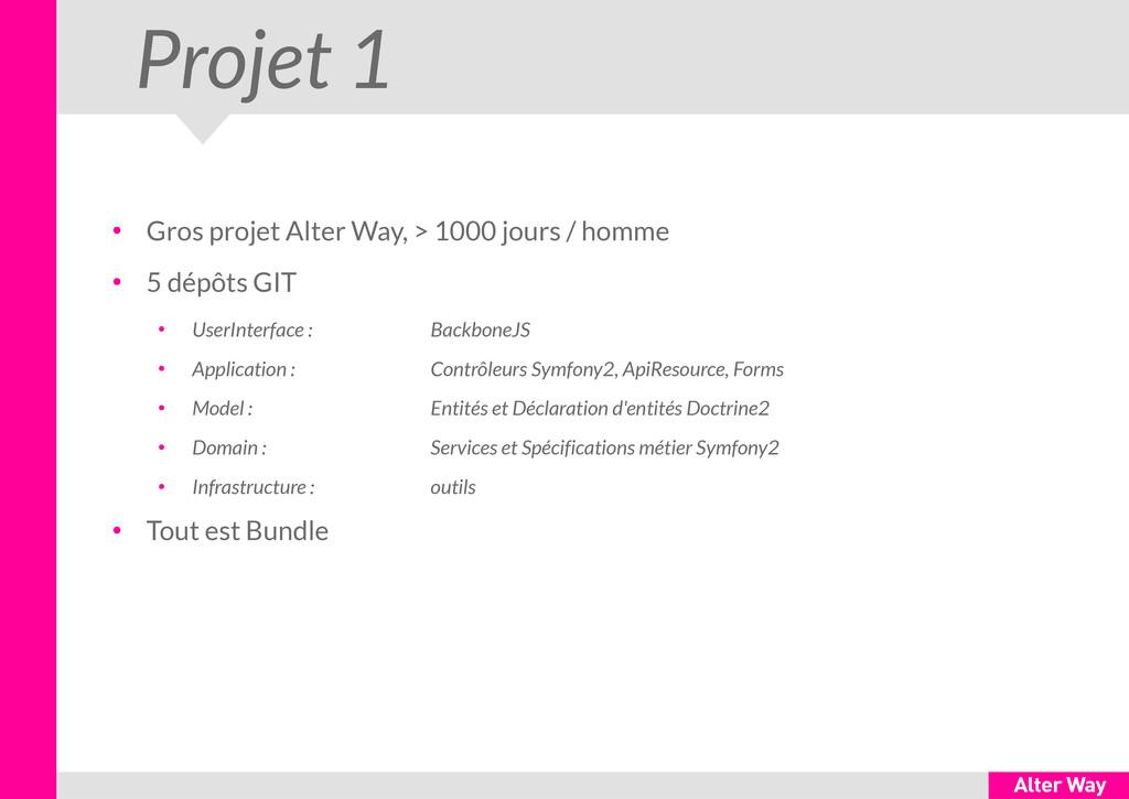 Projet 1 ● Gros projet Alter Way, > 1000 jours ...