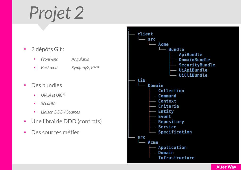 Projet 2 ● 2 dépôts Git : ● Front-end AngularJs...