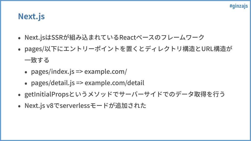 #ginzajs Next.js • Next.jsはSSRが組み込まれているReactベース...