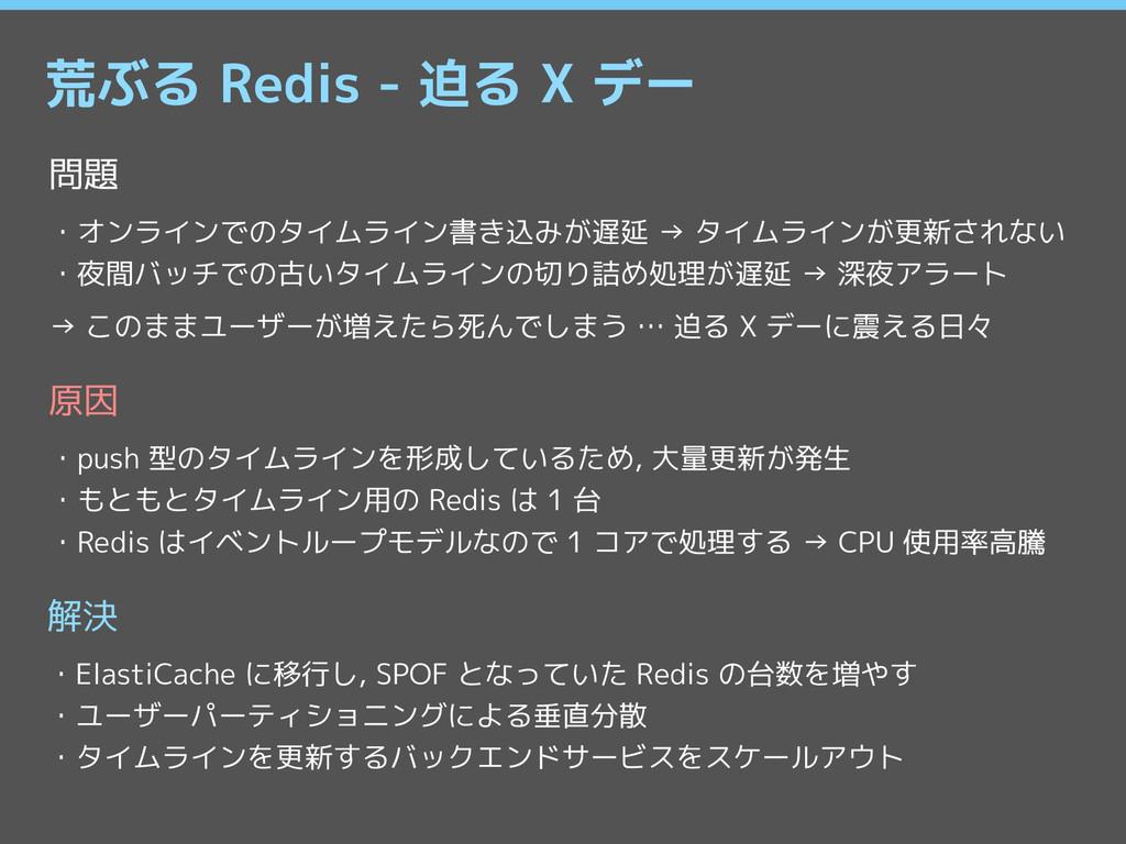 荒ぶる Redis - 迫る X デー 問題 ・オンラインでのタイムライン書き込みが遅延 → ...