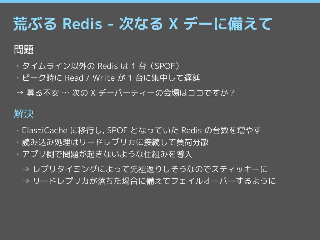 荒ぶる Redis - 次なる X デーに備えて 問題 ・タイムライン以外の Redis は ...