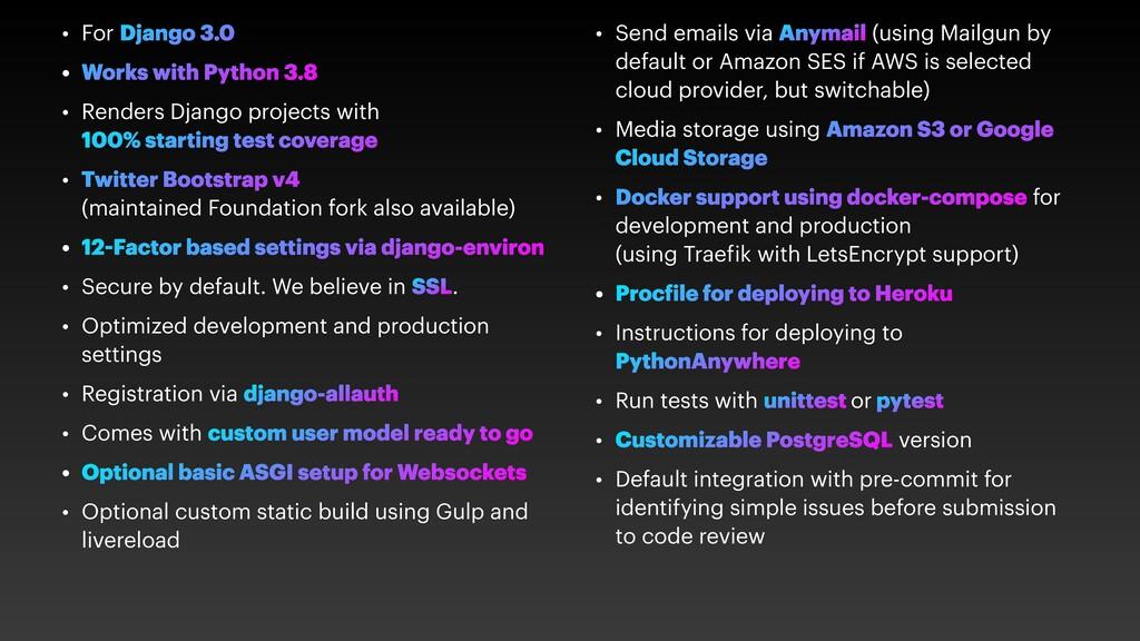 • For Django 3.0 • Works with Python 3.8 • Rend...