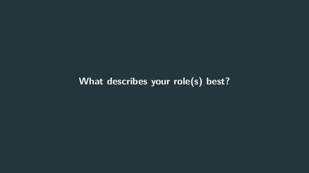 What describes your role(s) best?